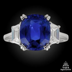 Platinum Ceylon Cushion Shaped Sapphire & Diamond Ring