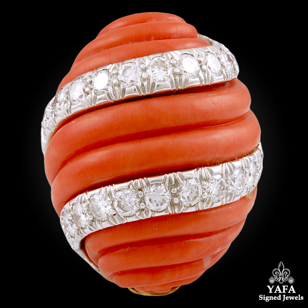 DAVID WEBB Two Tone Coral & Diamond Dome Ring