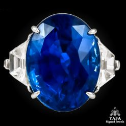 PIRANESI Platinum Oval Sapphire, Diamond Ring