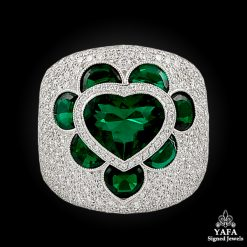 Modern Platinum Heart Shape Emerald, Diamond Ring