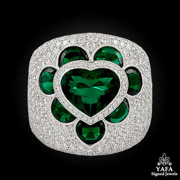 Contemporary Emerald Heart Diamond Bombe Ring