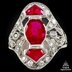 Platinum Diamond,Ruby Ring