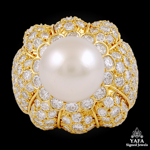 VAN CLEEF & ARPELS Diamond, 12mm Pearl Ring