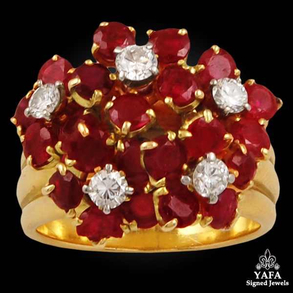 VAN CLEEF & ARPELS Diamond, Ruby Flower Ring
