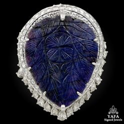 Platinum Carved Sapphire, Diamond Ring