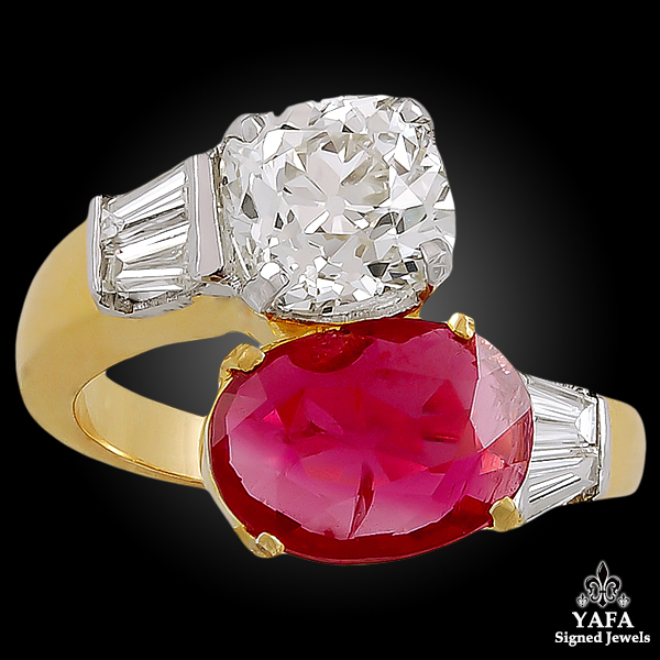 18K Gold Ruby, Diamond Ring