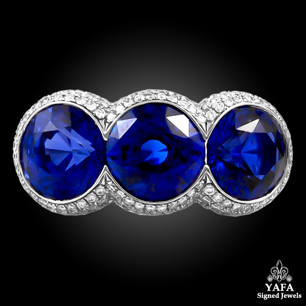 Contemporary Sapphire Diamond Three Stone Ring