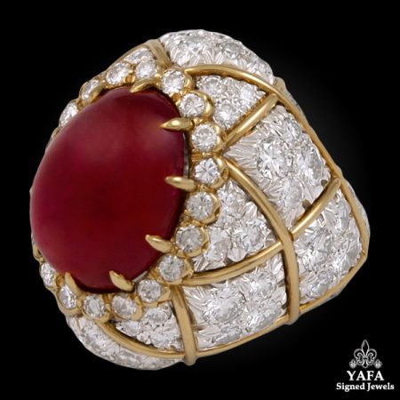 David Webb Two Tone Diamond, Ruby Ring