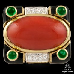 DAVID WEBB Coral,Diamond & Emerald Ring