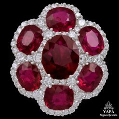Platinum Oval Shaped Ruby, Diamond Ring