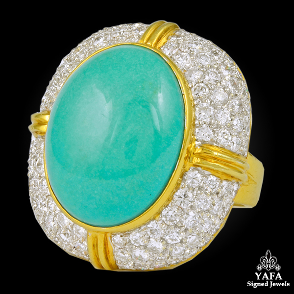 18k Yellow Gold Turquoise, Diamond Ring