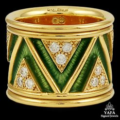 ELIZABETH GAGE Diamond, Green Enamel Band Ring