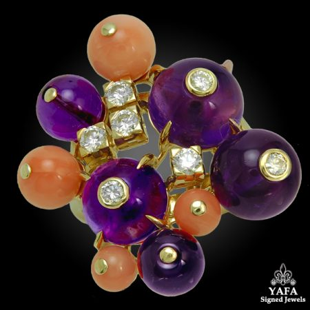 CARTIER  Coral, Amethyst, Diamond 'Delice de Goa' Ring