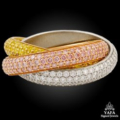 CARTIER Pink, Yellow, White Diamond Trinity Ring