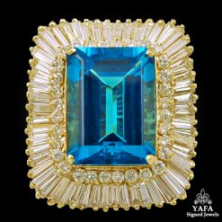 14k Gold Diamond, Blue Topaz Ring 25cts.