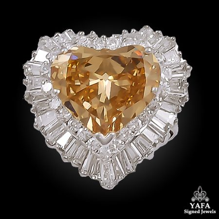 Heart Shaped Brown Diamond Ring