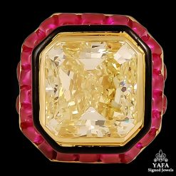 DAVID WEBB Natural Fancy YellowDiamond, Ruby Ring