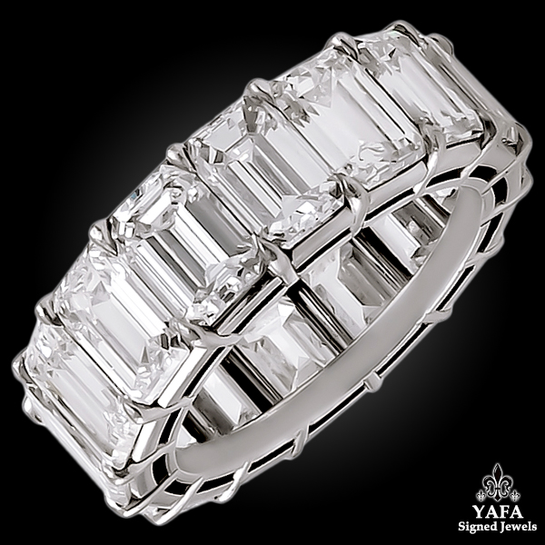 Platinum Emerald Cut Diamond Eternity Ring - 13.5 cts.