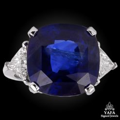 18k Gold Cushion Cut Sapphire,Diamond Ring
