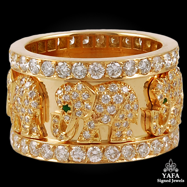 CARTIER Diamond, Emerald Elephant Wedding Ring