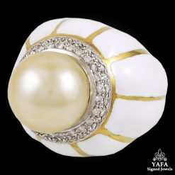 DAVID WEBB Diamond, Pearl,White Enamel Ring