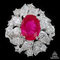 18k Gold Ruby, Diamond Parure Ring