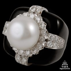 DAVID WEBB Diamond, Pearl, Black Enamel Ring