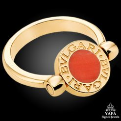 BULGARI Onyx, Coral Gold Ring