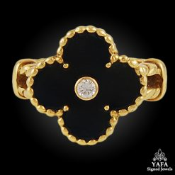 VAN CLEEF & ARPELS Diamond, Onyx Alhambra Ring