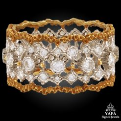 BUCCELLATI Two Tone Diamond Wedding Ring