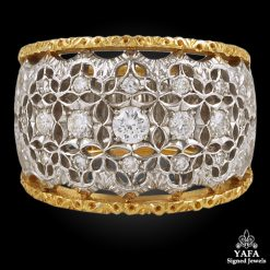 M.BUCCELLATI Two Tone Diamond Wedding Ring