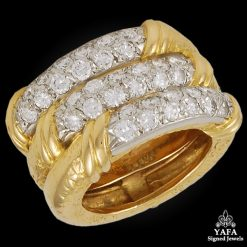 VAN CLEEF & ARPELS 3 Row Diamond Ring