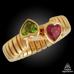 BULGARI Heart Shape Pink Tourmaline, Peridot Ring