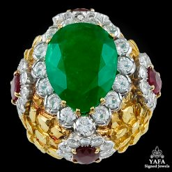 DAVID WEBB Pear Shaped Emerald,Diamond,Rubies Ring