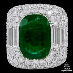 FRED LEIGHTON Diamond Emerald Bombe Cocktail Ring