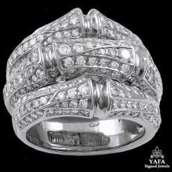 CARTIER White Gold Diamond Bamboo Ring