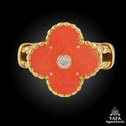 VAN CLEEF & ARPELS Diamond,Coral Alhambra Ring
