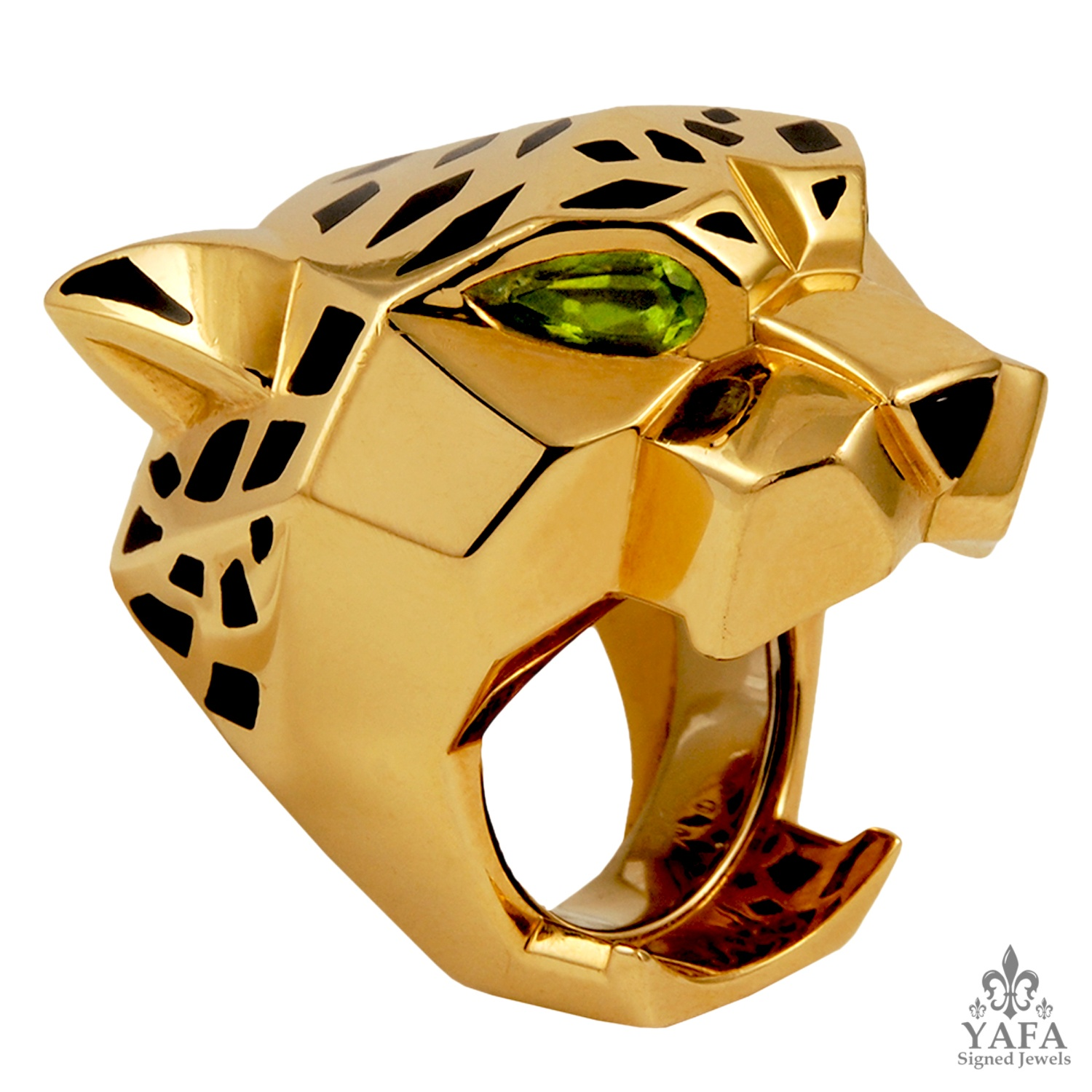 CARTIER Peridot and Onyx Panther Head Ring Sz. 61