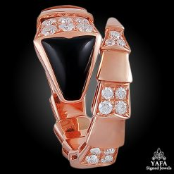 BULGARI Rose Gold Diamond Onyx Serpenti Ring