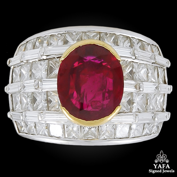 Two Tone Diamond Oval Shaped Ruby Ring
