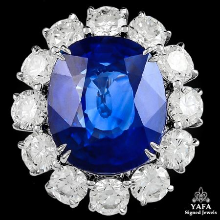 Platinum Cushion Cut Sapphire,Diamond Ring