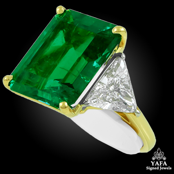HARRY WINSTON Colombian Emerald Diamond Ring-view1