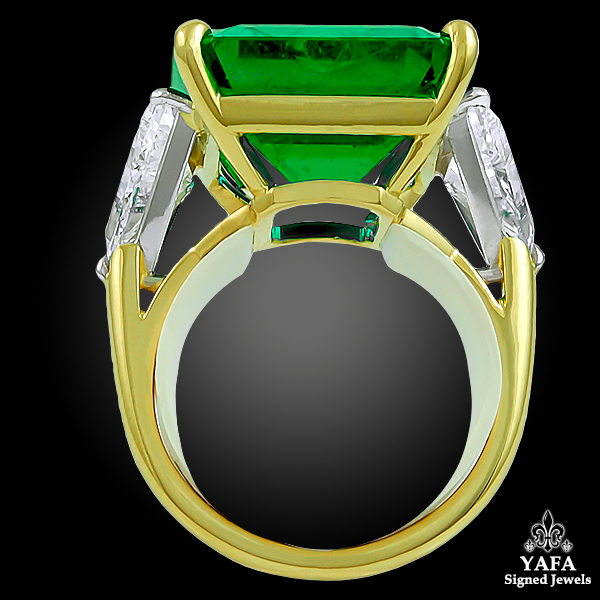 HARRY WINSTON Colombian Emerald Diamond Ring-view2