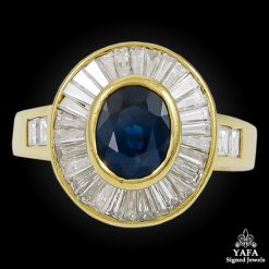Estate Yellow Gold Sapphire, Baguette Diamond Ring