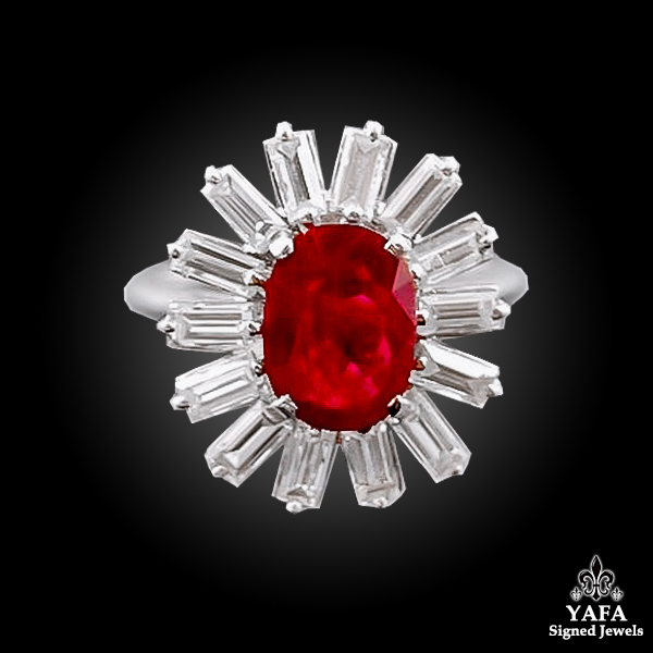 Platinum Diamond, Oval-Shaped Ruby Ring