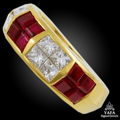 18k Gold Diamond & Ruby Wedding Ring