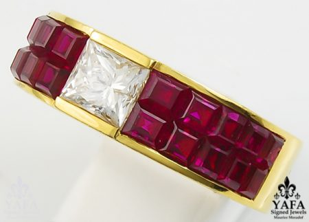 Diamond and Ruby Wedding Band Ring-view1