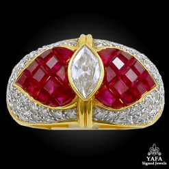 18k Gold Diamond, Invisible-Set Ruby Ring