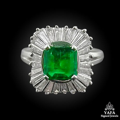 Platinum Tapered Baguette Diamond, Emerald Ring