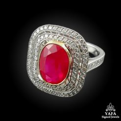 Platinum Diamond, Ruby Ring 4.01cts.